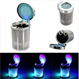Car LED Cigarette Ashtray Holder Blue Portable Smokeless Cup Holder LED Blue Light & Multicolour Lighting For Hyundai Tucson