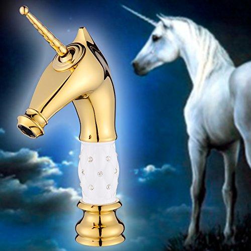 Homelody - Nostalgische Waschtisch-Einhebelarmatur, ohne Ablauf, Einhorndesign, Weiß-Gold-Diamant