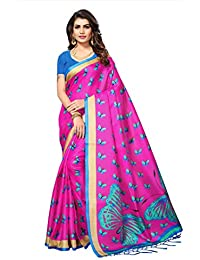 Fabwomen Sarees Kalamkari Pink And Blue Coloured Khadi Silk With Tessels Fashion Party Wear Women's Saree/Sari.