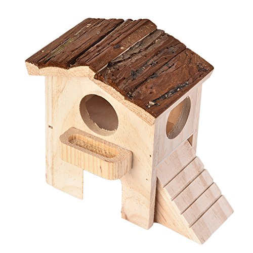 Hamster - Caseta de madera con dos capas de balcón y escaleras, para animales pequeños