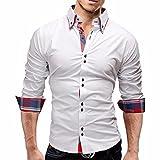 Toamen Chemise à Carreaux Manche Longue Slim Fit Casual - Homme (XL, Blanc)