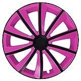 Eight Tec Handelsagentur (Farbe & Größe wählbar) 4er Set 15 Zoll G-Bic Schwarz-Pink Radkappen Radzierblenden Radabdeckungen (Universal)
