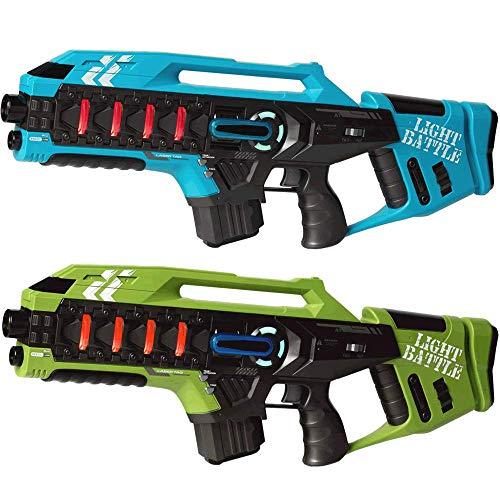 Preisvergleich Produktbild Light Battle Lasertag Spiel für zu Hause: 2 Anti-Cheat Laser Tag Gewehre Kaufen - Laser Game Toy Gun für zu Hause / Blau + Grün / LBAPG10214