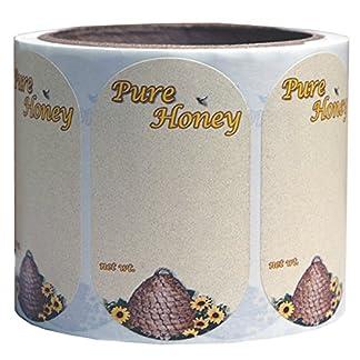 Mann Lake 250 Count Sunflower Honeybee Oval Skep Label, Small 7