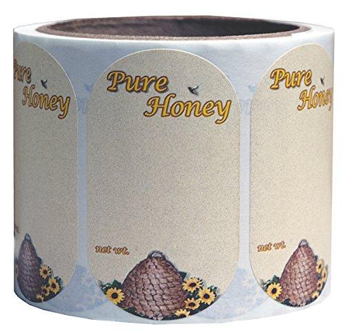 Mann Lake 250 Count Sunflower Honeybee Oval Skep Label, Small 1
