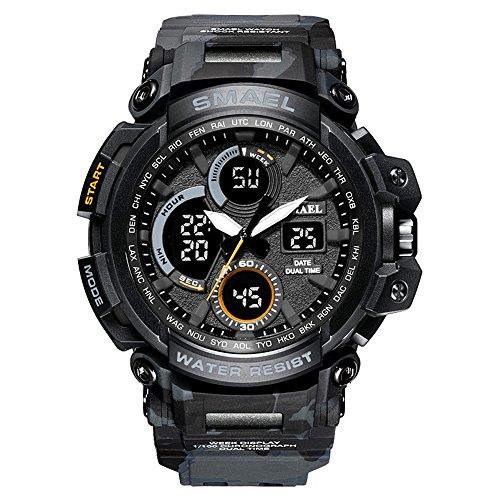 Besten Männer Digital Sport Uhren Matte Camouflage Uhr mit Silikonband Leuchtende Stoppuhr