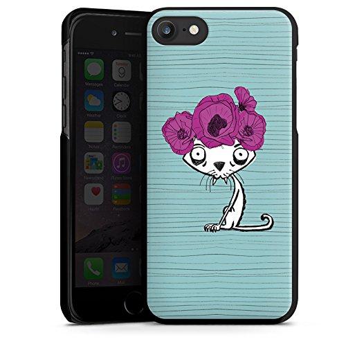 Apple iPhone X Silikon Hülle Case Schutzhülle Ugly Fashion Cat Katze Blumen Hard Case schwarz