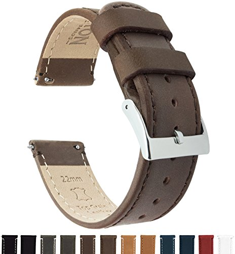 Barton Quick Release - Correas de Reloj Cuero de 20mm Saddle Leather/Saddle Stitching
