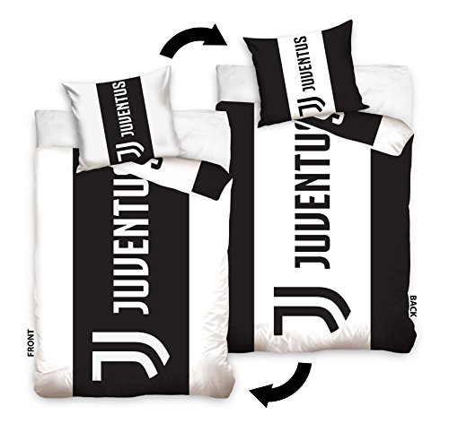 Juventus FC JT173005 Fußball Reversible Bettwäsche Juventus Turin Football Club 140x200 cm + 70x80 cm (Solid-bettwäsche-set)