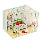Momola Hölzern DIY Puppenhaus Miniatur-Kit mit LED Licht,Puppenmöbel Modell Set Möbliert Zimmer...