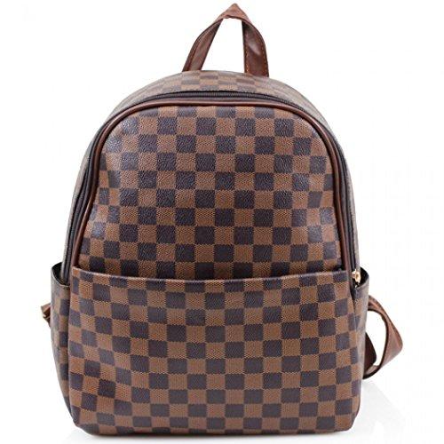 cksack Tasche Handtaschen der Qualitätsfrauen Taschen für die Schule für den Urlaub CW171 (Kariert Braun (32x15x33cm)) ()