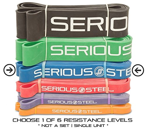 Serious Steel Assisted Pull-Up Band, Resistance & Stretch Band | Powerlifting Bands | Pull-up and Band Starter e-Guide INCLUDED (Single unit) 41-inch