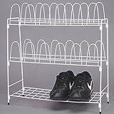 Metall Schuhregal weiß für 12 Paar Schuhe für Camping, Garten und Haushalt: Schuhschrank Schuhständer Regal Schuhablage Metallregal