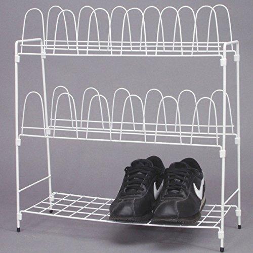 Metall Schuhregal Weiß Für 12 Paar Schuhe Für Camping, Garten Und Haushalt:  Schuhschrank Schuhstände