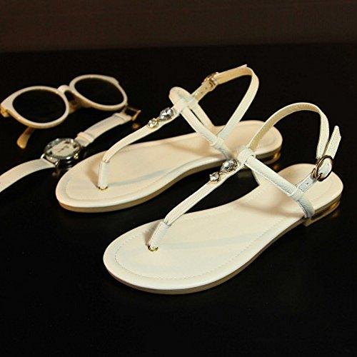 COOLCEPT Femme Mode Sangle de Cheville Thongs Slingback Plat Tongs Chaussures Blanc