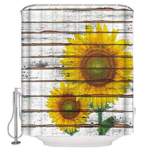 BestLives Sonnenblumen-Stoff Duschvorhang für Badezimmer, Holzbrett, Wasserdichte Polyester-Vorhänge mit Haken 72x84inch Sunflower04055 - Duschvorhang Mit Grau Rüschen