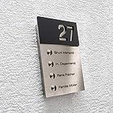 Metzler-Trade Funk-Klingel Edelstahl Mehrfamilien 4 fach Klingelplatte - inkl. Gravur-Beschriftung Name & Hausnummer - 4 x Funkempfänger für Steckdose - Aufputz-Montage - Größe: 156 x 220 x 26 mm (Schwarz satiniert)