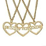 Los mejores collares de los amigos para el oro de 3 rosas platearon el colgante del corazón Collar de la amistad del encanto grabado