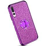 Ysimee kompatibel mit Huawei P20 Pro Hülle, Bling Schutzhülle Glänzend Weiche TPU Silikon HandyHülle Bumper Case mit Ring 360 Grad Ständer, Diamant Glitzer Case, Lila