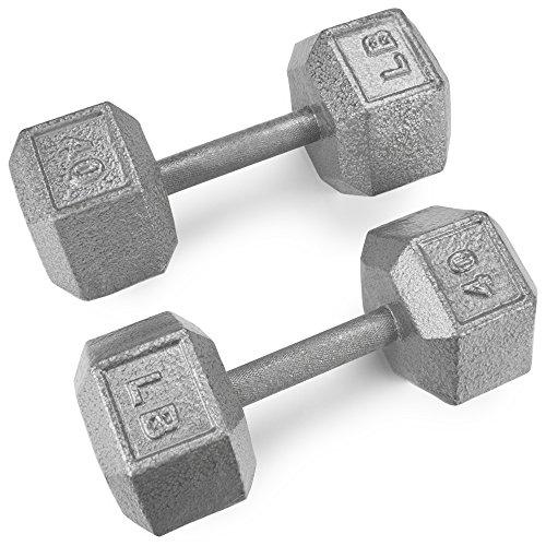 Crown Sporting Goods Hanteln aus Gusseisen, sechseckig, mit Hammerschlag-Finish (1,9 kg), 2 Stück (Cap Hantel Gewicht Set)