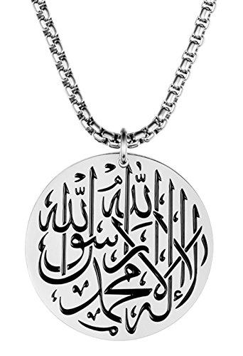 ALEXTINA Herren Edelstahl Runden Muslim Junggeselle Islam Gott Anhänger Halskette mit Kette Silber