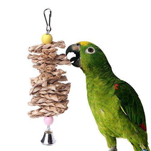 Preisvergleich Produktbild autone Parrot Bird Toys – Natürliches Holz Gras Kauen Bite Aufhängen Käfig Bell Swing Climb