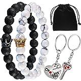 Gejoy Paare Armbänder Perlen Armband Lang Entfernung Armband und Schlüssel zu Entsperren Mein Herz Schlüsselanhänger für Liebhaber, Freunde