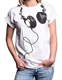 Coole Oberteile - Hipster Oversize Shirt Kurzarm große Größen - Kopfhörer Aufdruck