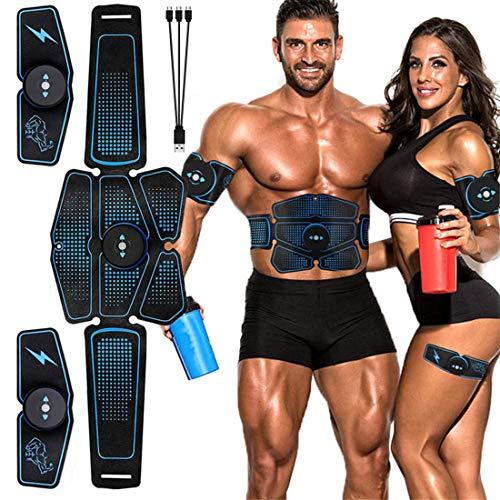 QKa EMS Abdomen Muskeltrainer Fitness, Stimulator Muskel-Toner Wiederaufladbare Bauchmuskel-Gürtel Mit 6 Modi 10 Stufen Für Männer Frauen Bauch/Arm