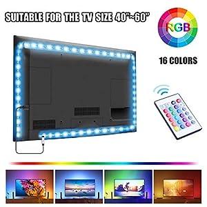 UTTORA Led TV Hintergrundbeleuchtung 2M, USB TV LED Beleuchtung, LED Stripe,Für 40-60 Zoll TV,24-Key Fernbedienung TV-Bildschirm, PC, Spiegel usw Neonspots & Neonstäbe (2m)