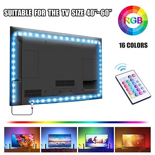 UTTORA Led TV Hintergrundbeleuchtung 2M, USB TV LED Beleuchtung, LED Stripe,Für 40-60 Zoll TV,24-Key Fernbedienung TV-Bildschirm, PC, Spiegel usw (2m)