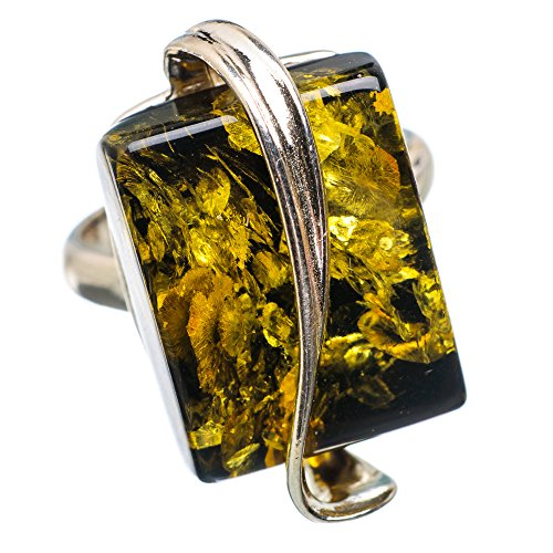 Baltic Amber, Baltischer Bernstein 925 Sterling Silber Ring 5.5 (Sterling Bernstein Silber 925 Ring)