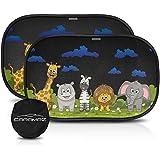 Pare soleil voiture bébé/enfant - protection UV/chaleur, adhésion sans ventouse, pose rapide/facile, 2 pièces, grand de 51 x 31 cm