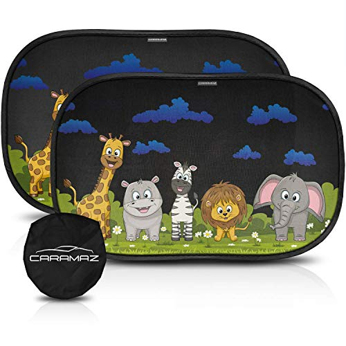 CARAMAZ Sonnenschutz Auto Baby mit UV Schutz - 2 Stück selbsthaftende Sonnenblende Auto für Kinder und Haustiere mit Tieren