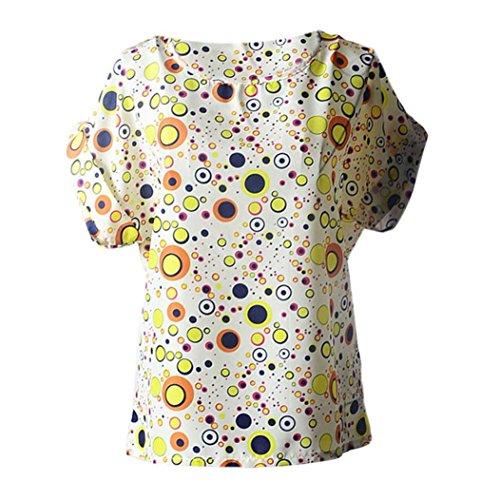 Damen blusen drucktes tropischen chiffon hemd Printed t-shirt short sleeved chiffon shirt (XXL, Beige) (Tropische T-shirts Damen)