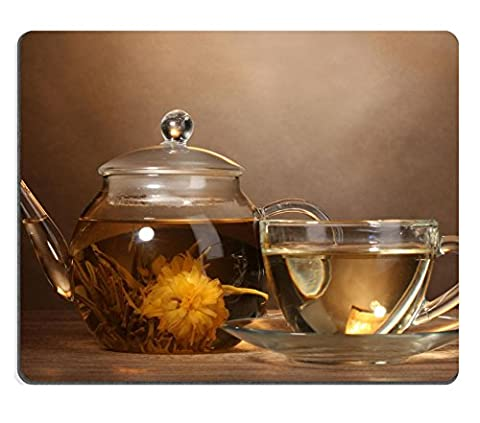 Liili Mouse Pad Natural Rubber Mousepad IMAGE ID: 13820272 glass teapot and cup with exotic green tea on wooden table on brown background