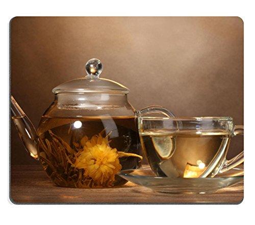 Liili Mauspad Naturkautschuk Mousepad Bild-ID: 13820272Glas-Teekanne und Tasse mit exotischen grün Tee auf Holz Tisch auf braunem Hintergrund Exotischer Grüner Tee