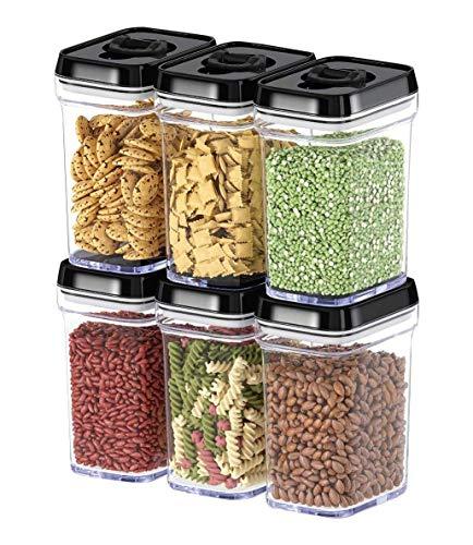 Boîte de conservation alimentaire avec couvercles - En plastique hermétique sans BPA - Gardez les aliments frais au sec avec étiquettes et marqueurs à craie (lot de 6)