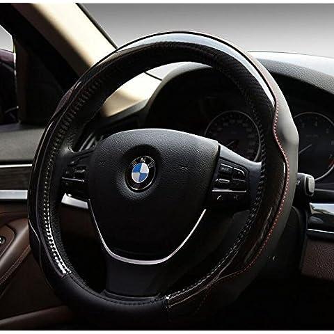 EarthSafe® Microfibra copertura del volante dell'automobile in pelle, Universal 38 centimetri morbido Wrap Volante traspirante (Nero)