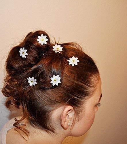 6 Curlies Haarnadeln Gänseblümchen Margeriten Kommunion Braut Oktoberfest Strasssteinchen Gelb, Weiß