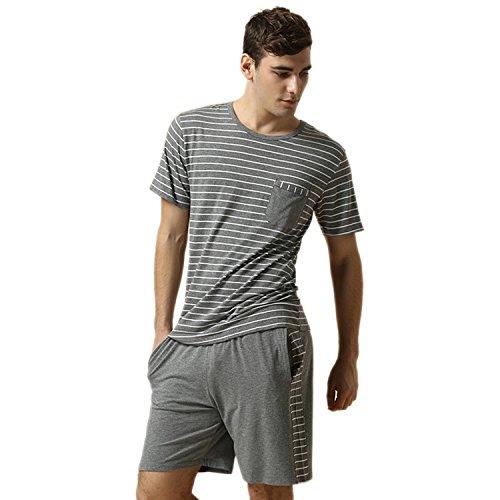 Herren zweiteiliger Schlafanzug kurz Pyjama Baumwolle Anzug Oberteil mit Streifen 2-tlg Set Kurzarm Shirt & Shorts kurz Nachtwäsche Suntasty(Grey,XL,1001M) (Nachtwäsche Kurz)