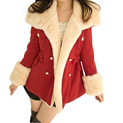 Trenchcoat Damen,Dasongff Damen Winter Mode Wollmantel Warme Zweireiher Wollmischung Jacke Frauen Mantel College-Stil Trenchcoat Outwear Jacke Slim Fit (Rot, S)