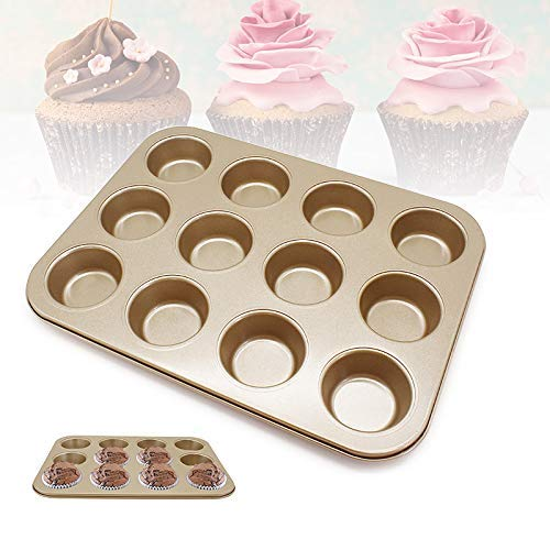 Fishyu Carbon Steel Muffin Pan 12 Cups Non-Stick Quick Release Coating Mince Pie Pan Non-stick Steel Muffin Pan