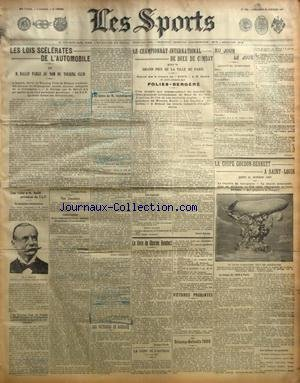 SPORTS (LES) [No 1054] du 20/10/1907 - LA BOXE - LE CHAMPIONNAT INTERNATIONAL DE BOXE DE COMBAT - LES LOIS SCELERATES DE L'AUTO - LA COUPE GORDON-BENNETT A SAINT-LOUIS - LES DELAUNAY-BELLEVILLE 1908 - LES VICTOIRES DE DARRACQ - LA COUPE DE L'AUTOLOC - LE LIVRE DE CHARLES HUMBERT par Collectif
