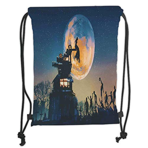 LULUZXOA Gym Bag Printed Drawstring Sack Backpacks Bags,Fantasy World,Dead Queen in Castle Zombies in Cemetery Love Affair Bridal Halloween Theme,Blue Yellow Soft Satinr (Halloween-event In Queens)