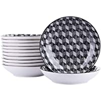 vancasso AOKI Juego de Platos 24 Piezas Porcelana Platos Hondos 21.5x21.5x4.5