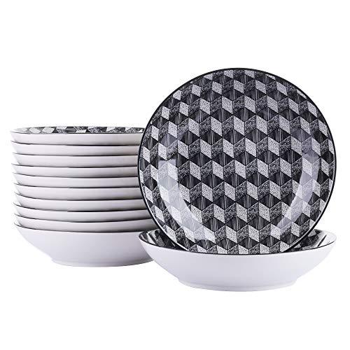 vancasso, série Aoki, Assiette Creuse, 12 pièces, en Porcelaine, Style Japonais