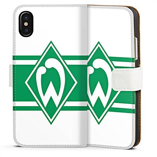 Apple iPhone X Silikon Hülle Case Schutzhülle Werder Bremen Wappen gestreift Fanartikel Sideflip Tasche weiß