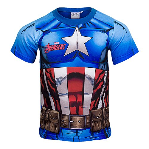 Super Hero Jungen T-Shirt Gr. 12 Jahre, Captain America (T-shirt Captain America T-shirt)