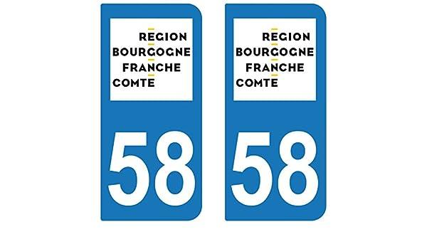 supstick 2 Stickers Autocollant Plaque IMMATRICULATION Moto DEPT 58 Region Bourgogne-Franche-Comt/é
